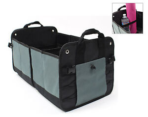 Folding Auto Trunk Cargo Organizer Storage For Car Suv Vans Trucks In Black Grey