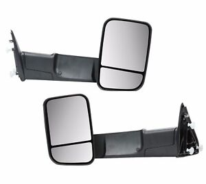 Towing Mirrors Pair Side View For 2009 2015 Dodge Ram Truck Pickup Black Manual
