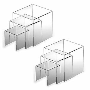 2pk Clear Acrylic Riser 3 4 5 Product Display Case Retail Stands Set Of 3