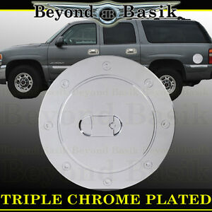 1999 2006 Chevy Silverado Triple Abs Chrome Fuel Gas Door Cover Cap Overlay Trim
