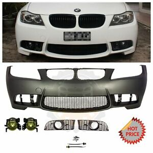 2009 11 E90 Lci M3 Style Front Bumper For Bmw 3 Series W Yellow Lens Fog Lights