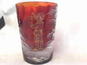 Antique Mary Gregory Red Glass Tumbler 3 5 8 Boy In Gold With A Frog