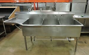 Commercial Stainless Steel 3 compartment Sink W Left Drainboard