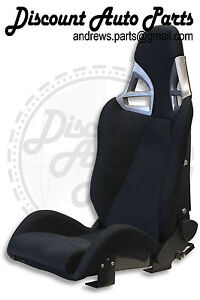 Porsche 997 Style Gt3 Reclining Seats In Black Cloth W Carbon Fiber Backing