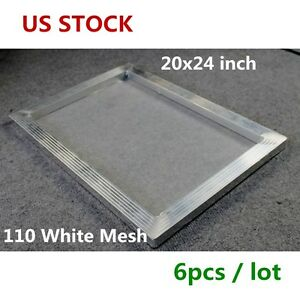 Us Stock 6 Pcs 20 X 24 Inch Aluminum Screen Printing Frame With 110 White Mesh