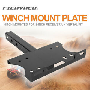 Universal Recovery Winch Mount Plate Trailer Hitch For Vehicles W 2 Receiver