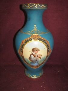 Large Antique Old Paris Porcelain Portrait Vase