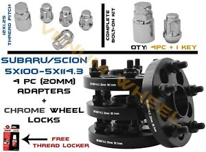 Complete Set Of Subaru Conversion Adapter 5x100 To 5x4 5 20mm Wheel Locks