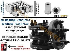 Complete Set Of 5x100 To 5x4 5 Subaru Conversion Adapter 20pc 12x1 25 Lug Nuts