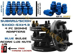 5x100 To 5x114 3 5x4 5 20mm Hubcentric Wheel Spacers 12x1 25 Blue Lug Nuts