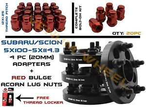 Complete Set Of 5x100 Converts To 5x4 5 Wheel Spacer 20 Red Acorn Lug Nuts