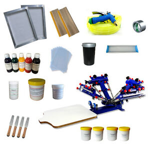 4 Color 1 Station Diy Tools Screen Printing Starter Kit Adjustable Press screen