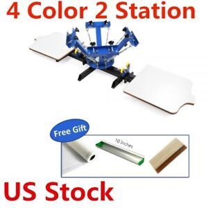 4 Color 2 Station Silk Screen Printing Machine Press T shirt Printer Usa Stock