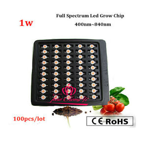 100pcs lot 3 2v 1w Full Spectrum Led Plant Chip 400 840nm For Diy Indoor Grow