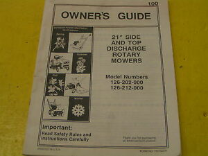 Mtd 21 Side Top Discharge Rotary Mowers Owner s Manual Mod 126 202 000