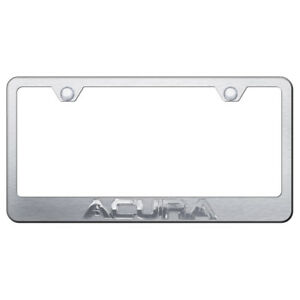 Chrome Acura On Brushed Stainless Steel License Plate Frame