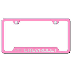Chevrolet Laser Etched On Pink Cut out License Plate Frame Officially Licensed