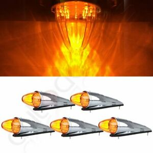 5 17led Amber Semi Truck Roof Cab Marker Clearance Light Assembly For Peterbilt