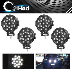4x 7inch 51w Round Led Work Lights Slim Spot Offroad Boat Atv Suv Truck Black