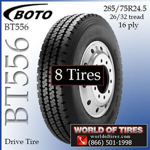 Commercial Truck Tires 16pl 285 75r24 5 Boto 279 Each Set Of 8 Call To Ship