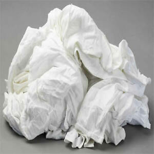 White Knit T shirt Wiping Rags Cleaning Cloth 50 Lb Box Best Quality
