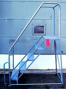 5 Step Tilt Roll Gill Ladder Industrial warehouse 6 9 69 Tall Free Ship