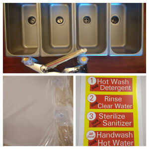 3 Standard 1 Hand Wash 4 Compartment Portable Concession Sink Set
