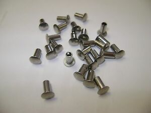 25 Stainless Steel 1 8 x1 4 Oval Head Semi Tubular Hollow Rivets Tonka Truck