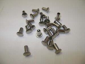 100 Stainless Steel 1 8 x1 4 Oval Head Semi Tubular Hollow Rivets Tonka Truck
