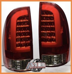 2005 2015 Toyota Tacoma Prerunner Trd Red Chrome Smoke Led Neon Tube Tail Lights