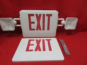 Lithonia Lighting White Led Emergency Exit Sign Combo W Battery Nwob