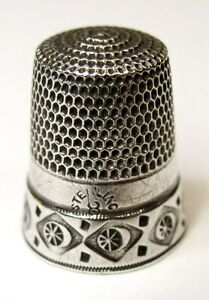 Antique Simons Brothers Sterling Silver Thimble Pinwheels In Diamonds C1880s