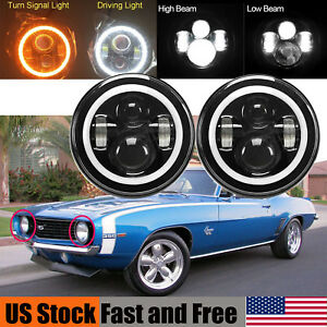 Led Headlight For Chevrolet Camaro 7 Inch Round Projector Drl Lights H4 H13 2x