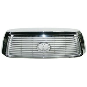 Am New Front Grille Chrome Shell W silver Billet Insert For 10 13 Toyota Tundra
