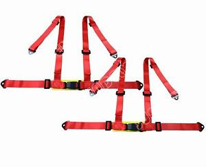 Universal Red 3 4 Point Buckle Racing Seat Belt Harness Pair Usa