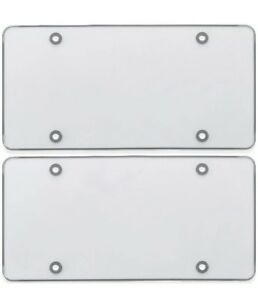 2 Clear Flat License Plate Cover Bug Shield Plastic Protector For Car auto Tag