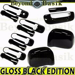 2002 2008 Dodge Ram 1500 Gloss Black Door Handle Covers W 1 Kh Mirror Tailgate