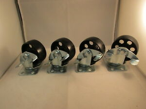 4 3 Steel Swivel Wheels Caster Casters With Brake Lock 330 Lb Capacity Each