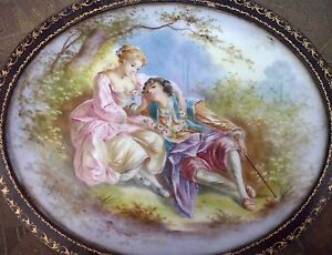Antique French Lovers Scene Sevres Porcelain Plaque Leather Jewelry Box A Bost