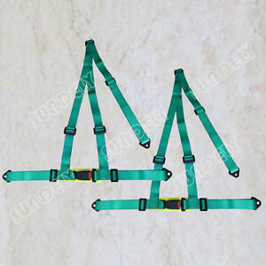 Pair Of Green 3 Point Racing Seat Belt Harnesses For Car off Road 4x4 Harness Us