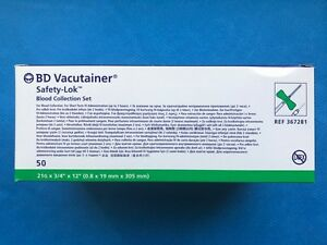 Bd Vacutainer Collection Set Satety lok 21gx 12 Luer Adapter 367281 50 bx