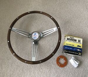 Original 1969 Cs Shelby Autosport Wood Steering Wheel Used W Center Horn Emblem