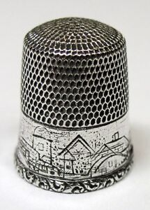 Antique Simons Bros Sterling Silver Thimble Etched Country Scene C 1880s