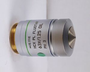 Leica Hcx Pl Fluotar 63x Oil Ph3 Phase Contrast m25 Microscope Objective