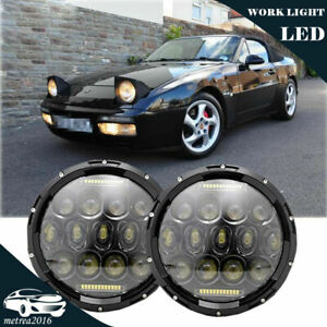 Pair 7inch Round Led Headlights Bulb Headlamp Upgrade Fit For Porsche 944