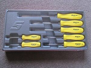 Snapon 7 Piece Classic Square Drive Hard Handle Screwdriver Set Mellow Yellow