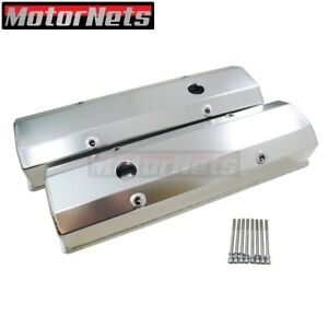 Sb Chevy Fabricated Aluminum Tall Valve Cover Sbc 1 4 Billet Rail 350 383 400