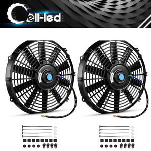 2x Slim 12 Electric Radiator Cooling Fans 2150cfm Push Pull Assembly Universal