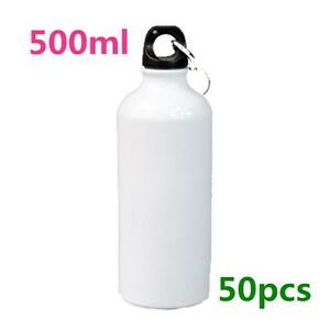 50pcs Carton 500ml White Blank Aluminum Sports Bottle For Sublimation Printing