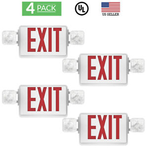 Sunco 4 Pack Emergency Exit Sign Single double Face Led W 2 Head Lights Ul